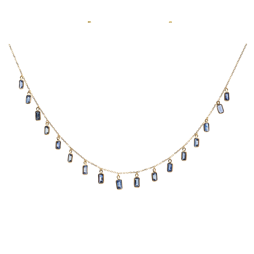 Tresor, Blue Sapphire Rectangle Necklace