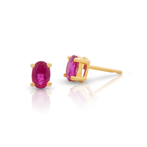 Tresor, Gemstone Oval Faceted Stud Earrings