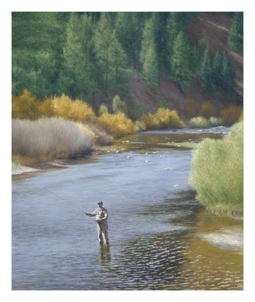 "Chris Hureau, ""Fly Fishing on the Platte River,"" Print"