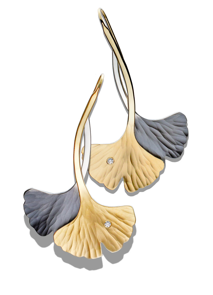 EcoGold and EcoSilver Ginkgo Leaf Double Twist Earrings with Diamonds