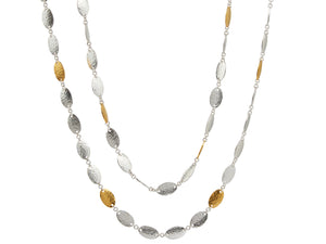 """Mango"" Silver Necklace, 'kissed' with 24K gold, 36"""