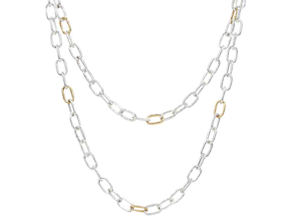 Hoopla Necklace, long oval link, 'kissed' with 24k Gold