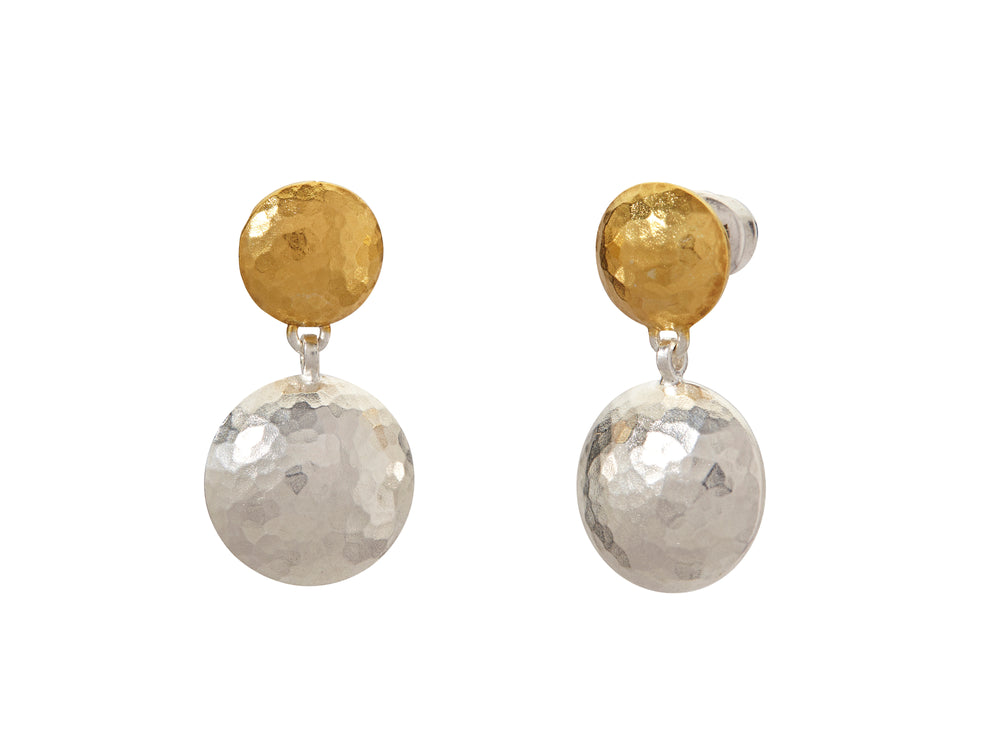 Lentil Silver Drop Earrings, double, 'kissed' with 24k Gold