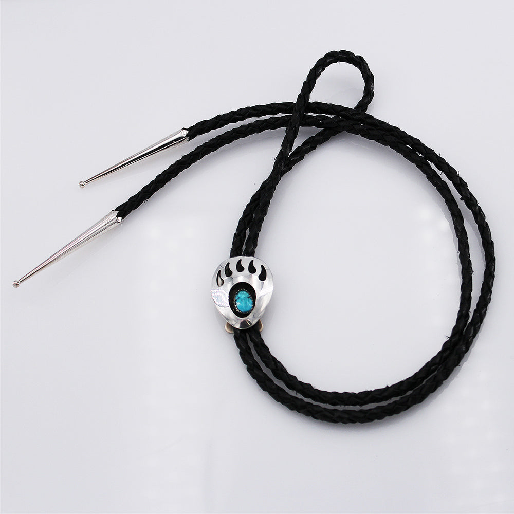 Navajo Silver  and Turquoise Bear Paw Bolo Tie