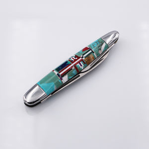 Large Zuni Multi-Stone Inlay Pocket Knife