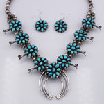 Phil Garcia: Turquoise and Sterling Silver Petit Point Small Squash Blossom Necklace and Earrings Set