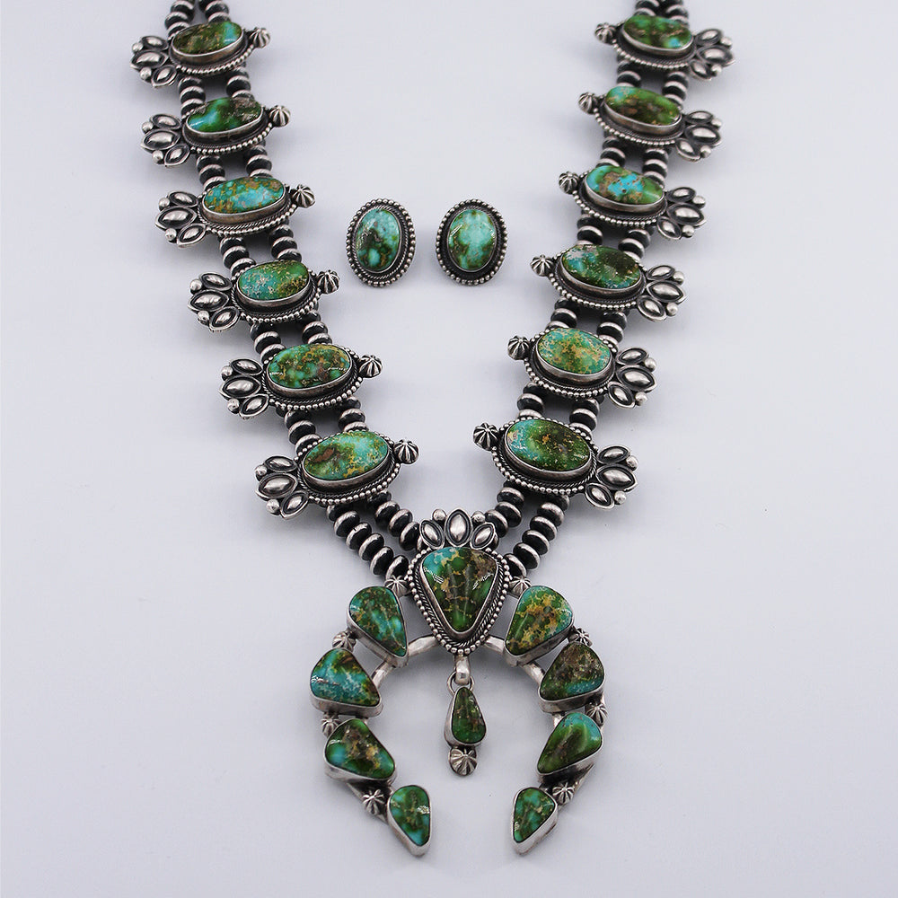 Paul Livingston: Sonoran Gold Turquoise Squash Blossom Necklace and Earrings Set