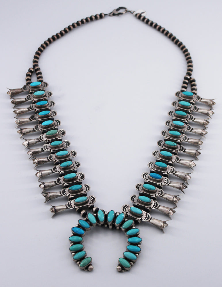 "Danny Clark: Campitos and Kingman Turquoise ""Bow Tie"" Squash Blossom Necklace"
