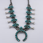 Pansy Johnson: Mixed Turquoise and Sterling Silver Petit Point Squash Blossom Necklace