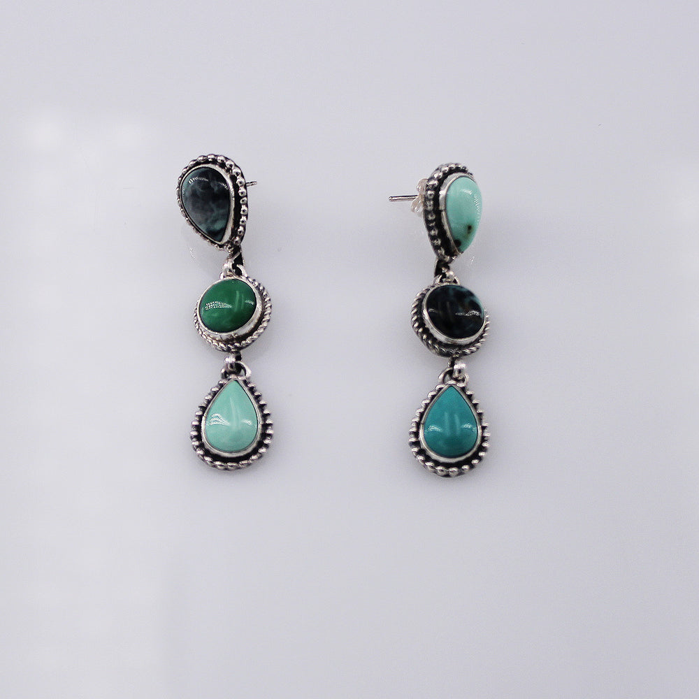 Brenda Jimenez: Mixed Turquoise 3 Stone Dangle Earrings