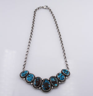 Randall Endito: Egyptian Turquoise 7 Stone Necklace