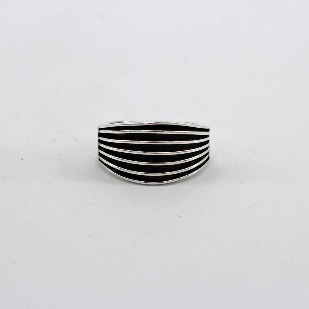 "Sterling Silver Flared ""Railroad"" Ring"
