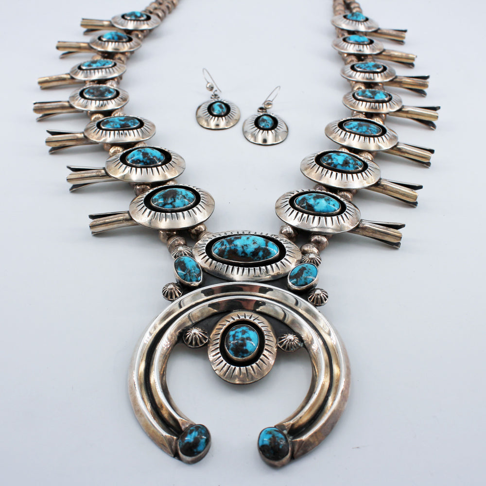 Turquoise & Sterling Silver 'Shadow Box' Squash Blossom Necklace and Earrings Set