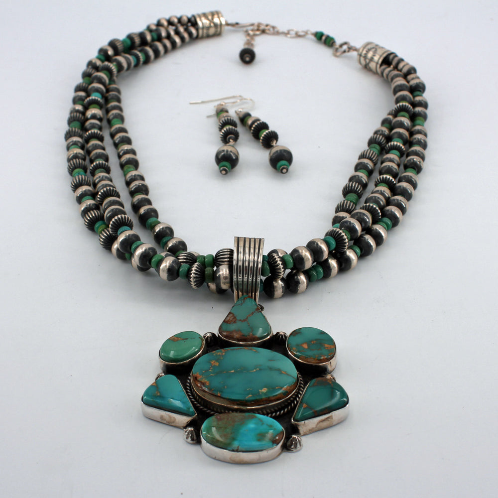Green Royston Turquoise & Sterling Silver Pendant Necklace and Earrings Set