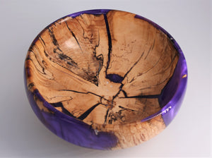 Maple Wood and Purple Resin Bowl