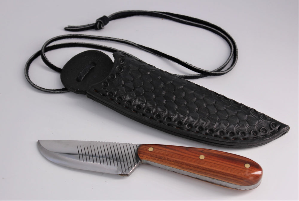 Plum Knife With Leather Neck Sheath