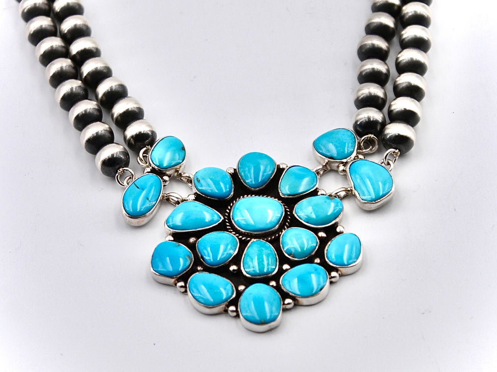 Blue Kingman Turquoise Cluster Necklace with Navajo Pearls