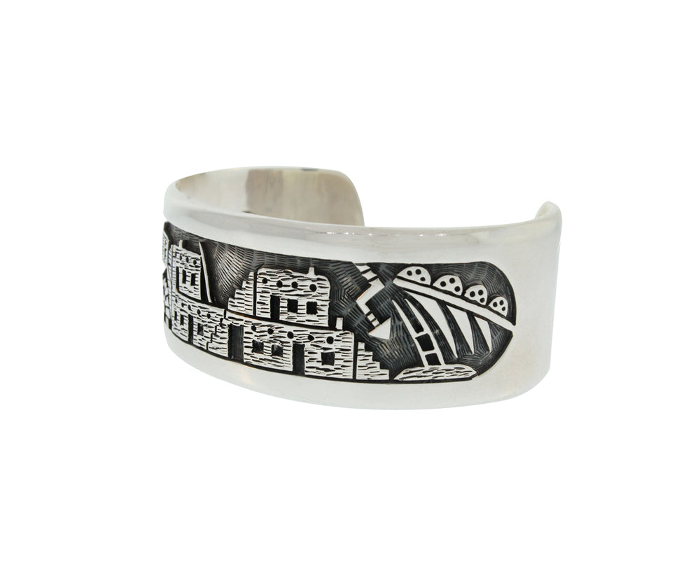 Hopi Village Sterling Silver Cuff