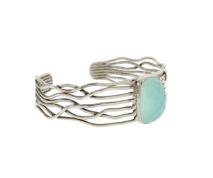 Sterling Silver Multi Wire Cuff with Rectangle Chalcedony