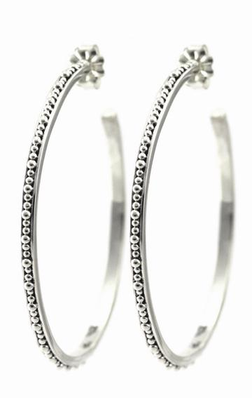 Indiri, Large Bead Hoop Earrings