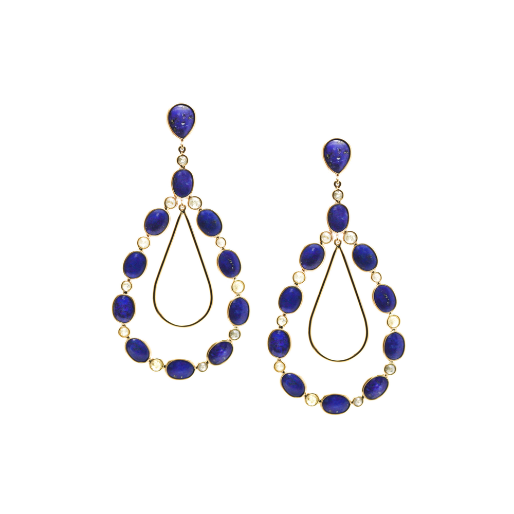 Tresor, Earrings With Lapis Lazuli And Organic Diamond