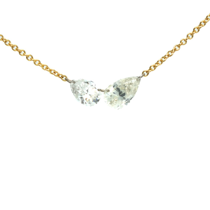 Double Pear Diamond Necklace