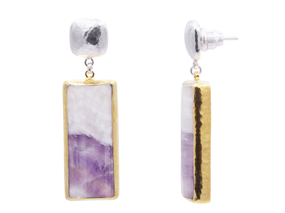 Chevron Amethyst Dangle Earrings