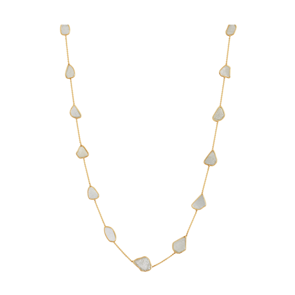 Tresor, Organic White Diamonds Slice Necklace