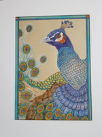 "Kathy Crowther, ""Proud Peacock,"" Gouache"