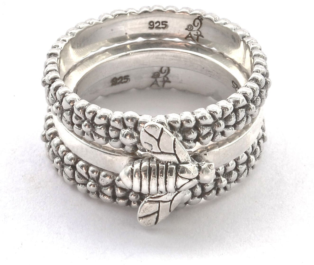 Weda Bee & Flower Stackable Ring Set
