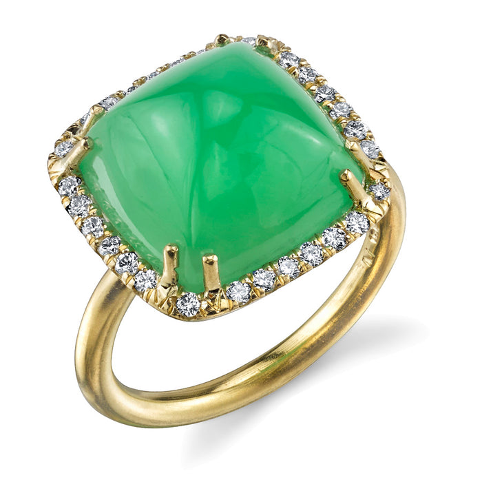 Chrysoprase and Diamond Ring