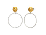 Hoopla Earrings, large round Front Hoop, 'kissed' with 24k Gold