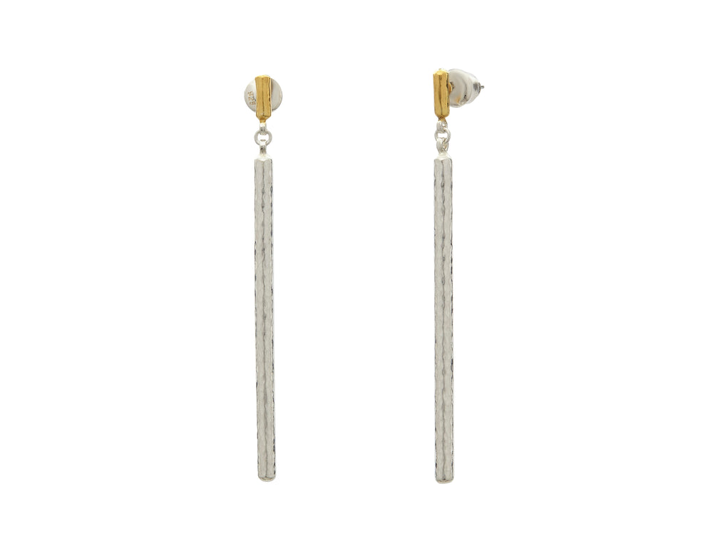 Vertigo Silver Stiletto Earrings, 'kissed' with 24k Gold