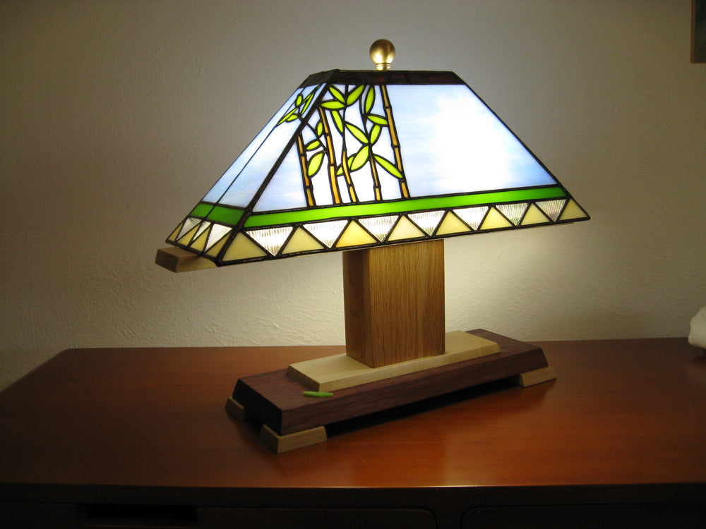 "Bill Simpson, ""Bamboo Accent Lamp,"" Stained Glass"