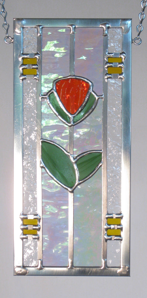 "Bill Simpson, ""Suitcase Series - Deco Poppy,"" Stained Glass"