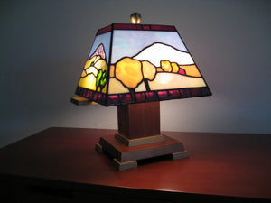 "Bill Simpson, ""Four Seasons Accent Lamp,"" Stained Glass"