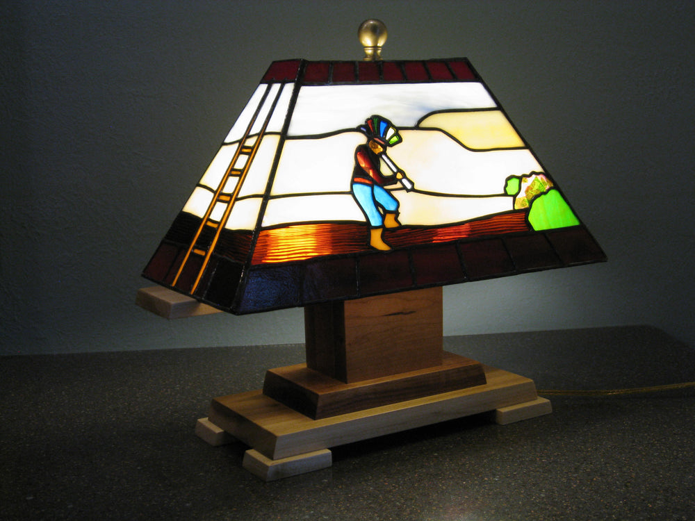 "Bill Simpson, ""Kokopelli Lamp,"" Stained Glass"
