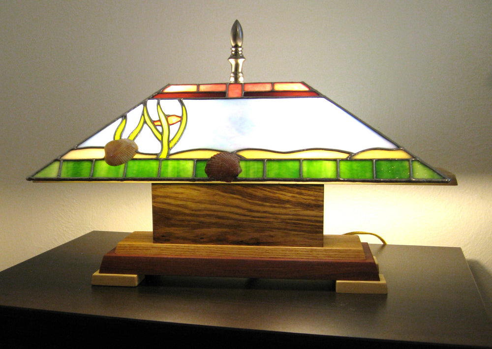 "Bill Simpson, ""Seashore Accent Lamp,"" Stained Glass"