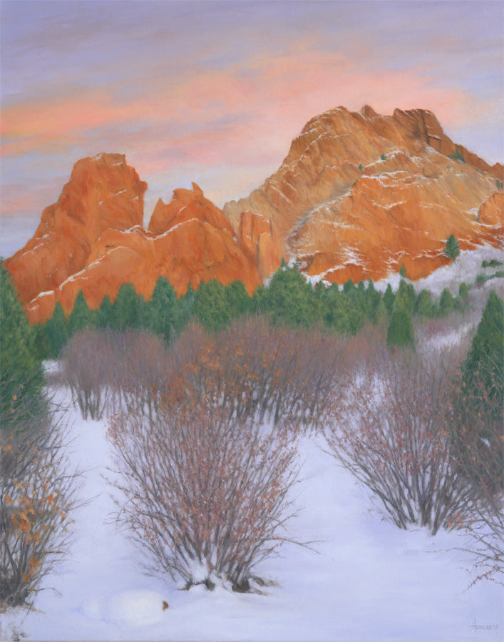 "Chris Hureau, ""Winter Sunset at the Garden of the Gods,"" Print"