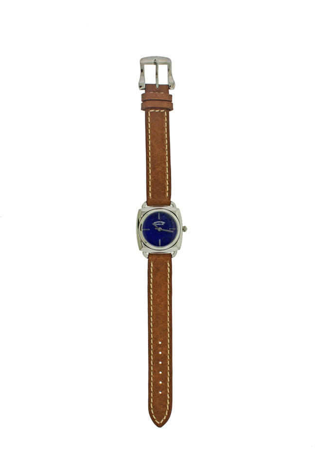 Lapis Face Brown Leather Watch