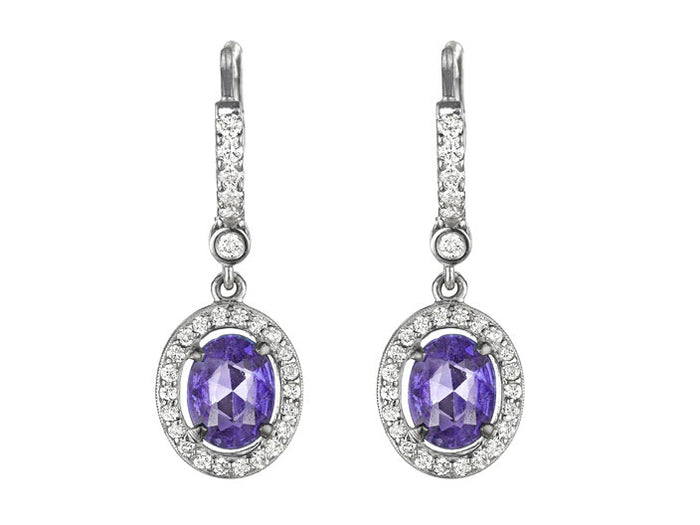 Tanzanite and Diamond Drop Earrings