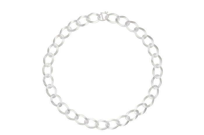 SILVER TWISTED OVALS NECKLACE