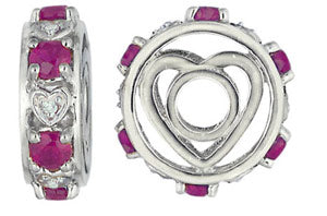 W-91 White Gold Fancy Large Ruby and Diamond Wheel