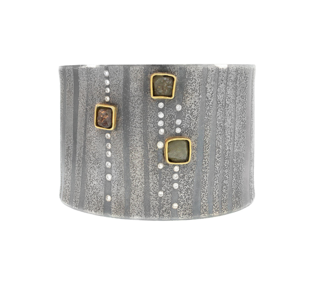 Grey Raw Diamond Cube Cuff
