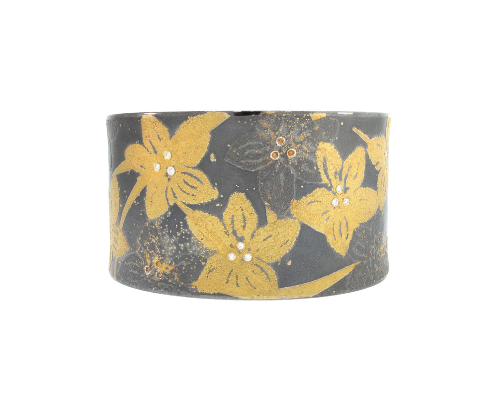 Gold And Silver Flower Cuff