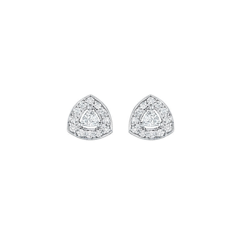 White Gold Trillion Studs
