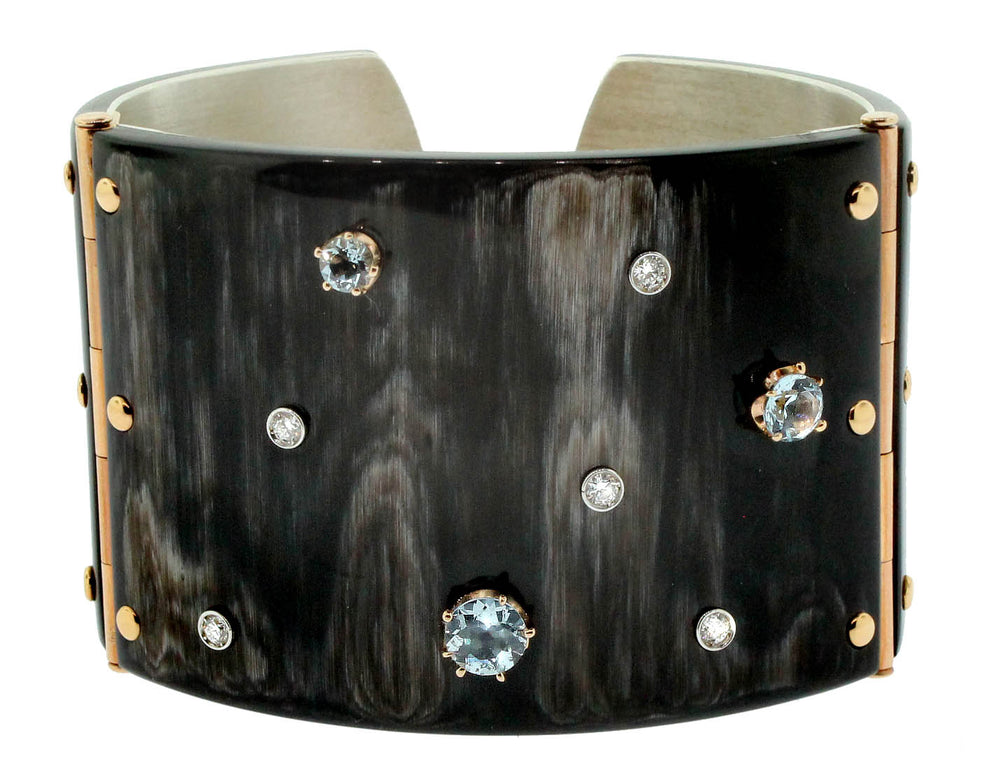 Diamond and Aquamarine Zebu Horn Cuff