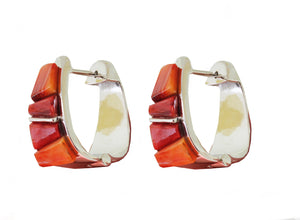 Cobble Stone Spiny Oyster Inlay Huggie Hoops