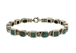 OVAL AND SQUARE TURQUOISE LINK BRACELET