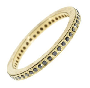 Thin Gold Band with Black Diamonds